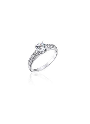 Tophills Diamond Co. 0,90 Ct Pırlanta Efekt Altın Belle  Yüzük Renkli